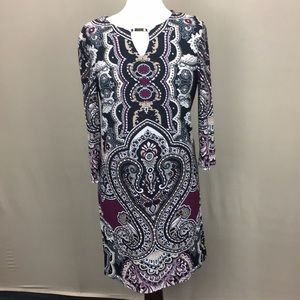 NWT Tiana B L/S Tunic Dress Abstract pattern sz M